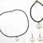 Silver Peace Sign Set